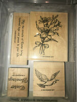 EASTER BLESSINGS Stampin' Up Wood Rubber Stamp Set 4 pc 1998 Bunny Lily Holiday