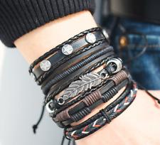 Stylish Men's Multilayer Leather Bracelet (Total of 5 Bracelets) - High Quality!