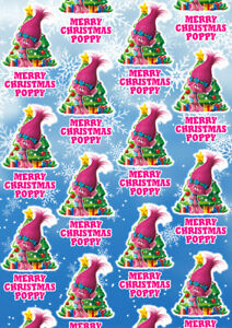 PRINCESS POPPY Personalised Christmas Gift Wrap - Trolls Wrapping Paper