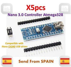 X5pcs Nano V3.0 Controller Board Atmega328 Compatible arduino nano CH340