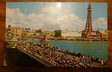 Busy Summer Holiday scene on North Pier, Blackpool, vintage RP Postcard