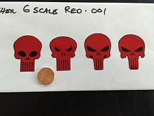 Custom Punisher Decals Red 001 1/6 Scale Die Cut. Free Shipping!