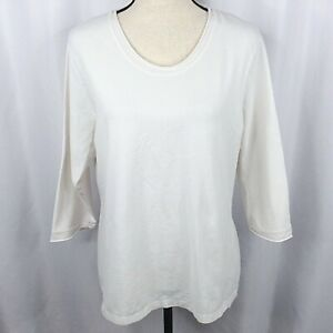 Cabelas T-Shirt Womens XL White 3/4 Sleeve Rolled Raw Edge Cotton Blend Stretch