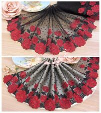 "7""*1Y Embroidered Floral Tulle Lace Trim~Black+Deep Red~Red Red Rose~Gorgeous~"