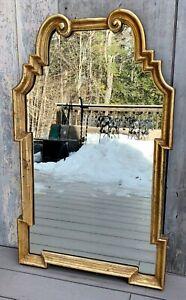 Vintage La Barge Italian Hollywood Regency Large Gold Gilt Wood Scroll Mirror