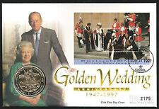 1997 Golden Wedding Coin MS FDC - $1 Coin & Monrovia Pmk