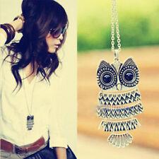 Femmes mode style vintage bronze owl longue chaîne collier pendentif bijoux