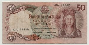 PORTUGAL 50 ESCUDOS 1964 PICK 168 LOOK SCANS