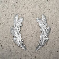 Iron On Embroidered Applique Patch Military SILVER Scrambled Eggs Uniform