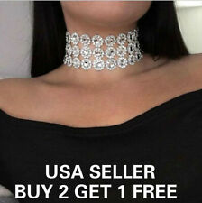 Triple Layer Women Lady Crystal Rhinestone Silver Choker Necklace Charm Chain