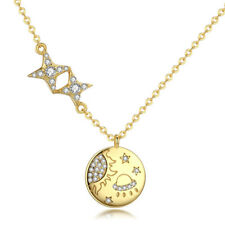 925 Sterling Silver Lovely Star & Moon Pendant Charm Chain Necklace For Women