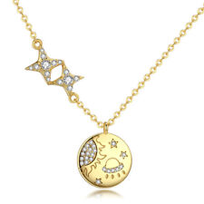 Stars and Sun Engraved Pendant 925 Sterling Silver Gold Plated Women Necklace