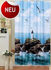"HOCHWERTIGER TEXTIL DUSCHVORHANG 180x200 cm""Leuchtturm am Meer"" Blau Grün &Ringe"