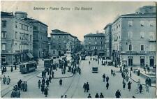 1933 Livorno Piazza Cavour Via Ricasoli Tram Auto ann. Ardenza FP B/N VG ANIM