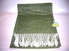 Großer Schal  ca. 70 x 190cm Olive grün  Neu OVP