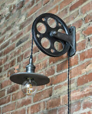 "Pulley Wheel & Bracket Kit - 10"" Antique Black - Make Industrial Wall Light"