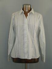 Eddie Bauer Womens Size L (43)  White/Green/Blue Striped Stretch Shirt 301-13750
