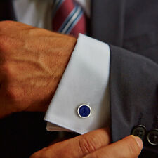 Natural Lapis Gemstone 925 Sterling Fine Silver Cufflinks For Mens Jewelry