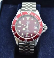 Super Rare Auth TAG Heuer 1000 Professional Diver 980.913N Red Full Original F/S