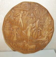 Vintage Carved Wood African American Plantation Fields/Harvest Round Wall Plaque