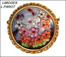 VINTAGE SIGNED L.PAROT LIMOGES ENAMELED FLORAL BROOCH PIN