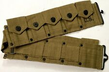 WWII US M1 GARAND RIFLE 10 POCKET AMMO BELT OD#3 KHAKI