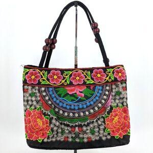 Unbranded Embroidered Shoulder Bag Colorful Floral Wooden Bead Strap Accent