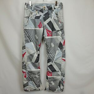 Volcom Snowboard Ski Ledger Pants Size Small Gray White Waterproof Insulated