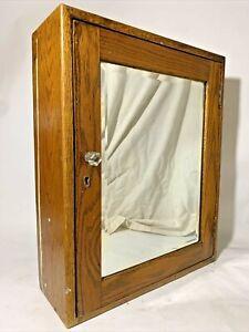 SCARCE Antique Oak Medicine Cabinet Beveled Mirror Shelves Wall Mount ORIGINAL