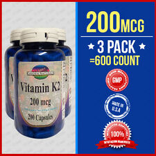 3 Pack Natural Vitamin K2 - Menaquinone 7 (MK 7) 200 mcg 3 X 200ct =600Caps-USA