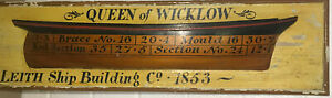 """English Ship Builders Half Hull Model  Queen Of Wicklow 1853   25"""" x 6-3/4"""""""