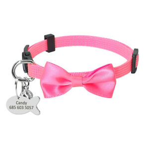 Breakaway Personalized Cat Collar BowTie Kitten Collar with Engraved ID Tag Bell