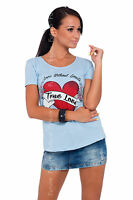 Womens Top True Love Print Scoop Neck Short Sleeve Cotton T-Shirt Sizes 8-14 B04