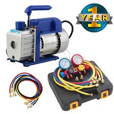 NEW Manifold Dual Gauge 4 Valve R404A R410A R22 A/C HVAC w/ 3CFM Vacuum Pump Kit