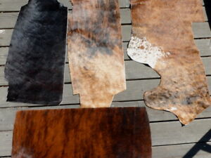 4 Hair On Cowhide cow leather hide LARGE Brindle, Solid Partial hides 13sf total