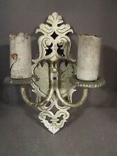 VINTAGE POT METAL FLEUR DE LIS STYLE LIGHT WALL SCONCE (NEEDS TO BE REWIRED)