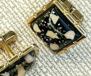 Signed Anson Vintage 50s Cufflinks Gold Tone Chips Embedded in Lucite