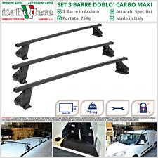 3 BARRE Portatutto Portapacchi Acciaio FIAT Doblò Cargo MAXI Professional 2015>