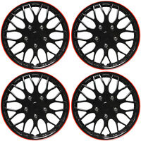 "4 Pc Set of 16"" ICE BLACK / RED TRIM Hub Caps Skin Rim Cover for OEM Steel Wheel"