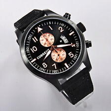 46mm Black dial CORGEUT Men's Watches Quartz Chronograph Stainless Steel Watches