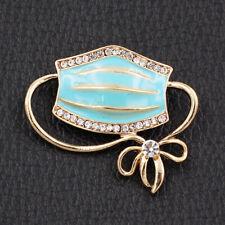 Betsey Johnson Jewelry Enamel Crystal Mouth Mask Shape Bowknot Charm Brooch Pin