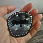 Hand Painted Crow Beach River Stone Rock Mandala with Hole for Hanging