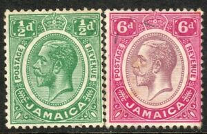 Jamaica 1921 green 1/2d purple/magenta 6d multi-script perf 14 mint SG92/93
