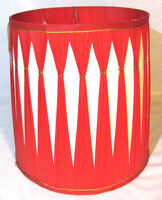 "VINTAGE 14"" DRUM TABLE LAMP SHADE RED WHITE CIRCA 70'S"