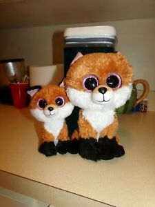"TY Beanie Boos SLICK the Brown Fox 6"" and 9"" Plush."