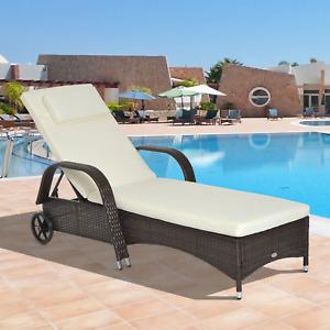 Brown Rattan Sun Lounger Wheels Adjustable Recliner Chair Cushion Garden Wicker