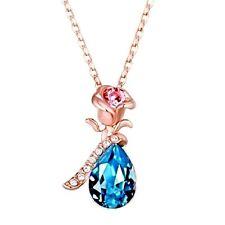Azul Lágrima Cristal Flor Rosa Chapado En Oro Rosa Collar Con Colgante