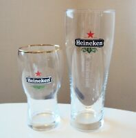 Heineken Pair - 16OZ Beer Glass and 10 OZ Beer Glass - Excellent Condition!
