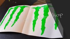 MONSTER ENERGY STICKERS X4 DECALS IN  Fluorescent GREEN