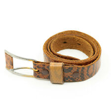 Men's Snake Skin Belt Narrow Brown & Black Leather Tongue Buckle Size 33 - 34 NR